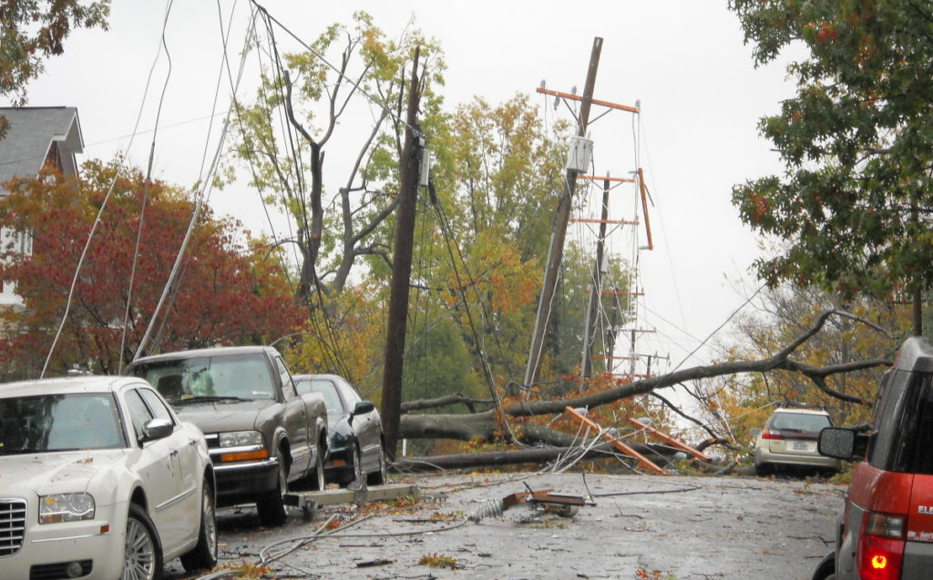 Downed power lines in Sandy