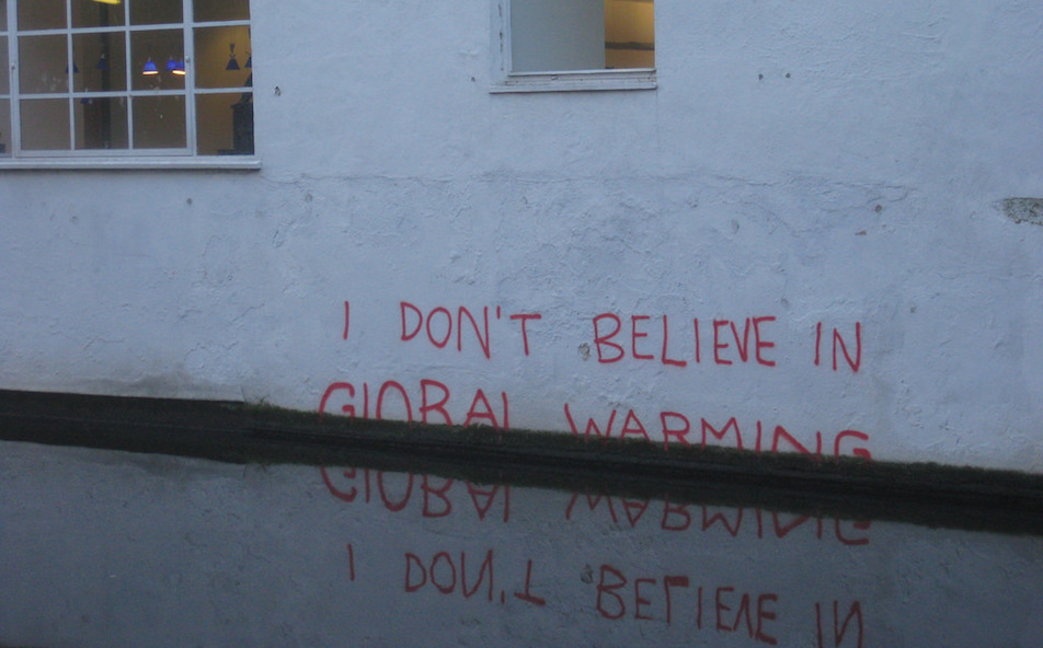 A work beside London's Regent's Canal by the British street artist Banksy offers a comment on climate-change denial, focusing on the sea-level rise that scientists say global warming is causing.