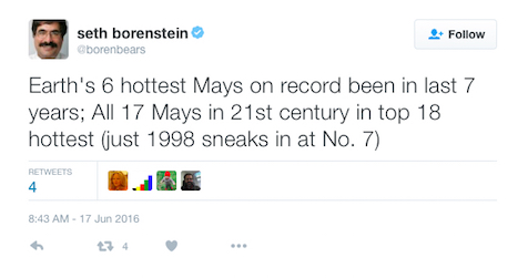 Associated Press science writer Seth Borenstein, a veteran journalist on the climate beat, tweeted details of the May temperature records.
