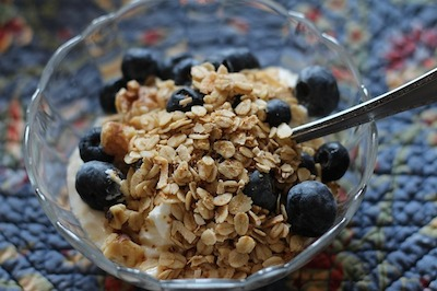 granola and blueberries