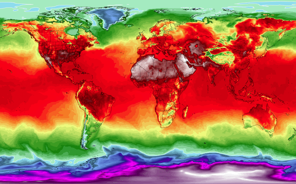 2018 world temps map