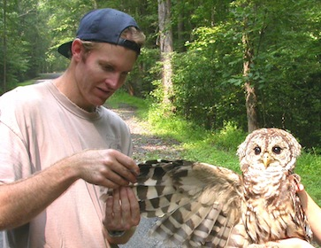 biologist with owl