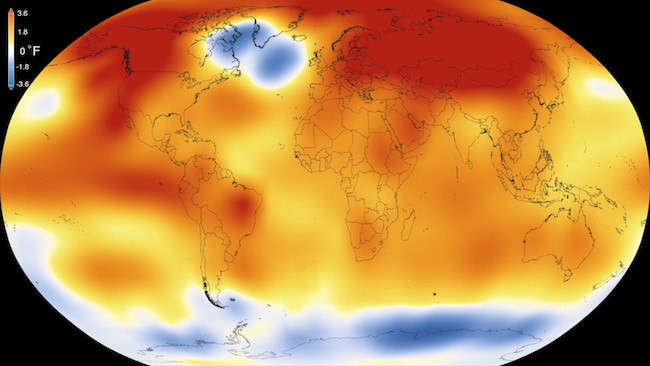 NASA map showing 2015 temperature differences from the 1951-80 average. Red, orange and yellow show average surface temperatures above that multi-year average.