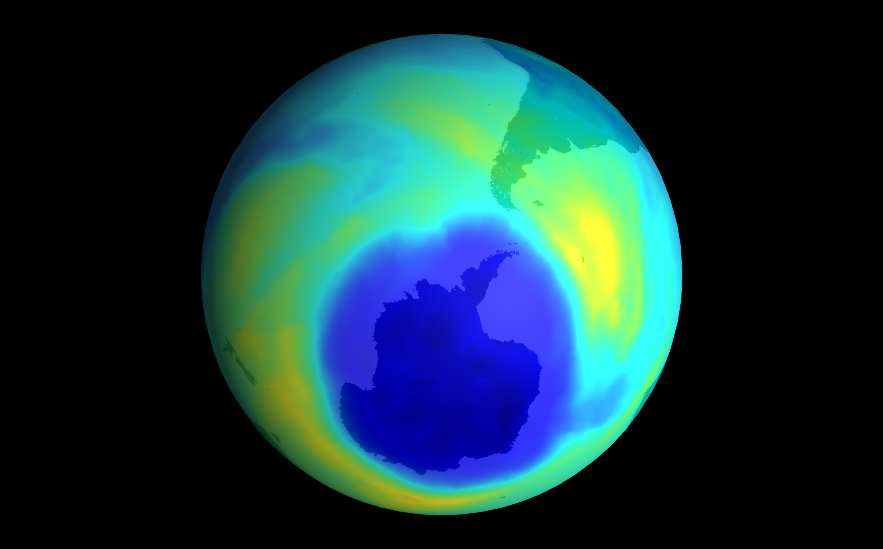 Ozone hole over Antarctic in 2001