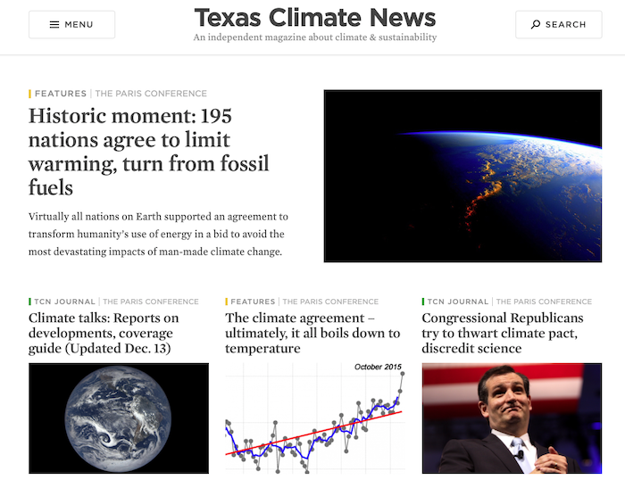 TCN home page when we reported the Paris Climate Agreement in 2015