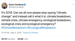 Tweet by Greta Thunberg 5/4/2019
