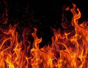 flames in closeup